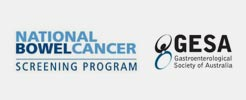 Logos of National Bowel Cancer Screening Program and GESA